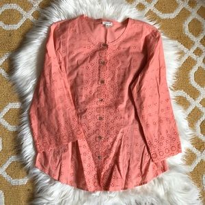 coral j. jill top size M embroidered detail